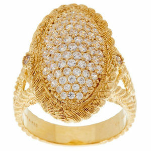 JUDITH RIPKA SIGNED 14K GOLD CLAD COCKTAIL RING